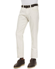 Four-Pocket Cotton-Stretch Jeans, White