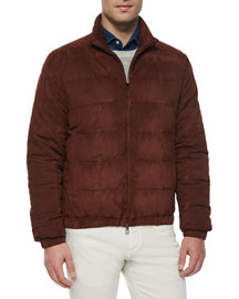 Lightweight Quilted Bomber Jacket, Dark Brown