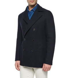 Double-Breasted Cashmere Pea Coat, Dark Blue