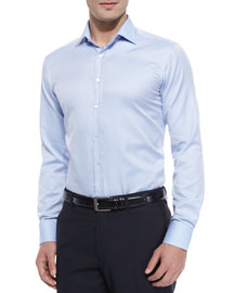 Jacquard Long-Sleeve Sport Shirt, Light Blue