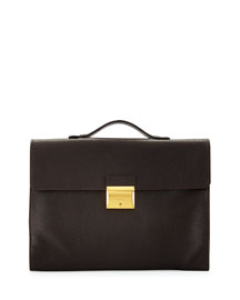 Leather Briefcase with Gold Buckle, Brown