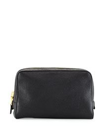 Single-Zip Leather Toiletry Bag, Black