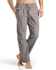 Emilien Plaid Flannel Lounge Pants, Brown/Red