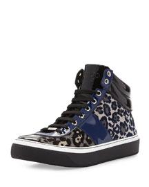 Belgravi Men's Leopard-Print High-Top Sneaker