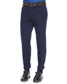 Flat-Front Cotton Pants, Navy