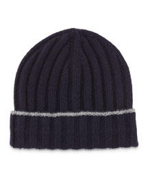 Cashmere Ribbed Hat w/Fold-Over Brim, Navy/Gray