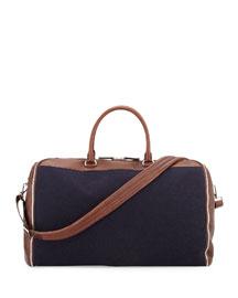 Buffalo Leather and Flannel Garment Duffel Bag, Navy
