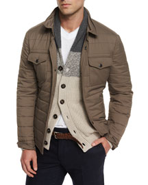 Milano Quilted Nylon Shirt Jacket, Brown
