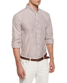 Striped Long-Sleeve Sport Shirt, Burgundy