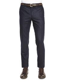 Flat-Front Flannel Slim-Fit Pants, Navy