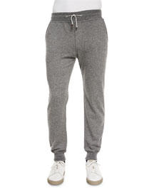 Cashmere Knit Jogger Pants, Gray
