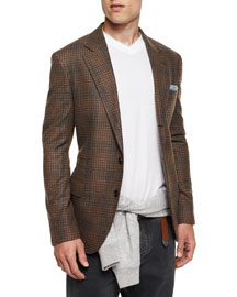 Plaid Two-Button Flannel Sport Coat, Brown
