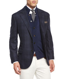 Plaid Two-Button Wool Sport Coat, Navy