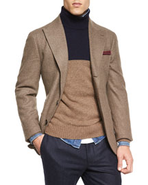 Flannel Two-Button Blazer, Brown