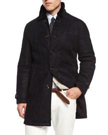 Button-Down Shearling Fur Coat, Navy
