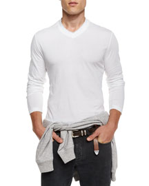 V-Neck Long-Sleeve Knit Tee, White