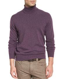 Baby Cashmere Turtleneck Sweater, Aubergine