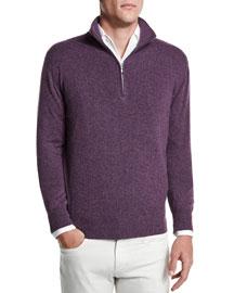 Cashmere Mezzocollo Half-Zip Sweater, Aubergine