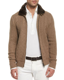 Cable-Knit Cashmere Bomber Jacket, Brown