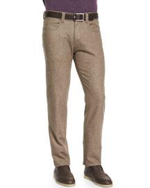 Five-Pocket Flannel Pants, Gray