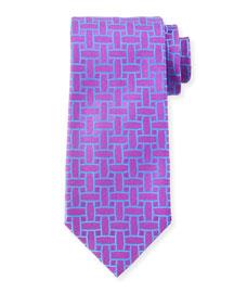 Cutout Print Silk Tie, Purple