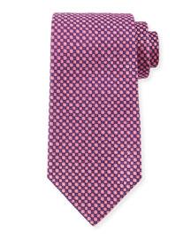 Square-Print Silk Tie, Purple/Pink