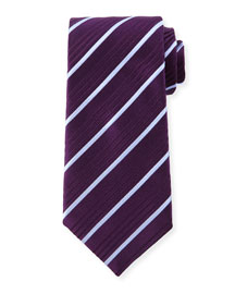 Striped Silk Tie, Purple/Blue
