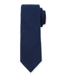 Gauze-Pattern Silk Tie, Navy