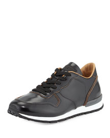 Runner Leather Sneaker, Black
