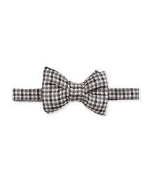 Houndstooth-Stripe Silk Bow Tie, Black