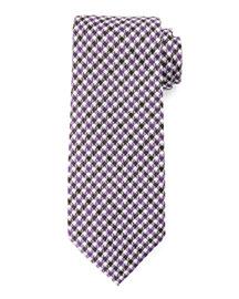 Houndstooth-Stripe Tie, Purple