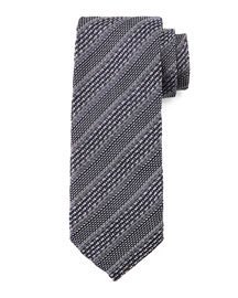 Striped Knit Tie, Gray