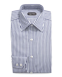 High Definition Striped Dress Shirt, Navy