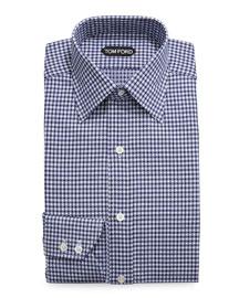 Optical Check Dress Shirt, Navy
