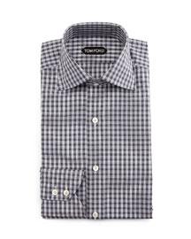 Geometrical-Gingham Dress Shirt, Gray