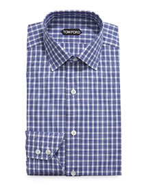 Thick Check Dress Shirt, Navy