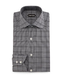 Houndstooth Over Check Dress Shirt, Charcoal