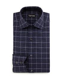 Large-Check Dress Shirt, Navy