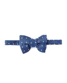 Herringbone Polka-Dot Bow Tie, Blue