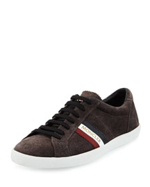 Monaco Striped Suede Low-Top Sneaker, Gray