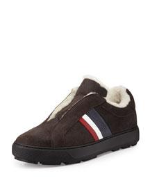 Augustin Fur-Lined Slip-On Sneaker, Gray