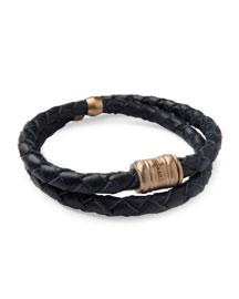 Men's Woven Leather Bracelet, Navy/Brass