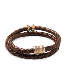 Woven Leather Bracelet with Brass Casing