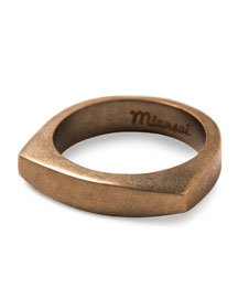 Men's Brushed Golden Round Ring