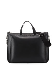 Textured Leather Wide Briefcase, Black