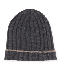 Ribbed Cashmere Hat with Fold-Over Brim, Gray/Brown