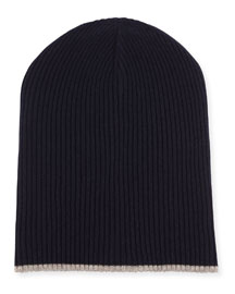 Cashmere Ribbed Hat with Fold-Over Brim, Navy