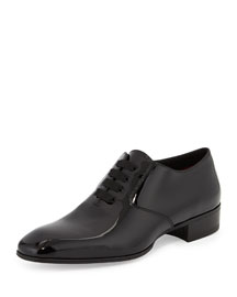 Gianni Patent Leather Lace-Up Shoe, Black