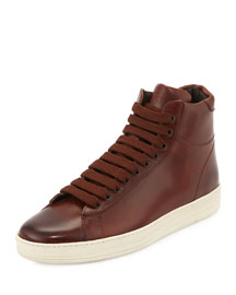 Russel Leather High-Top Sneaker, Brown