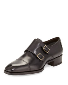 Gianni Double-Monk Strap Loafer, Gray